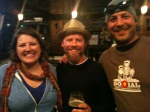 The blur on the left is me, the blur on the right is the Bearded One (pre-big beard), and the blur in the middle is the brewer from Firestone Walker. Or so the rumors go...